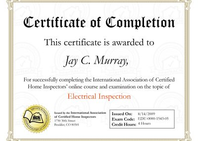 Electrical Inspection Certificate of Completion